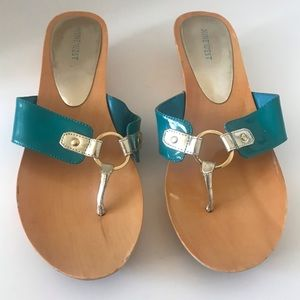 Nine West size 10 M Women's Wedge Sandals In Teal
